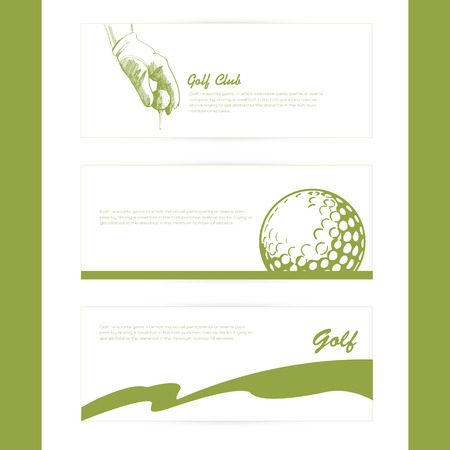 Set of simple silhouette cards on the theme of golf. Vettoriali
