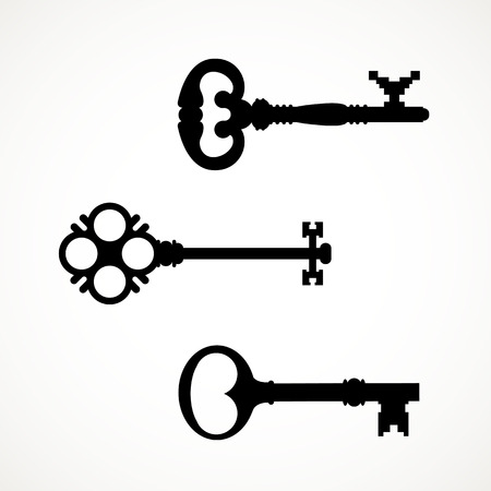Black & white set silhouettes of keys different shapes.