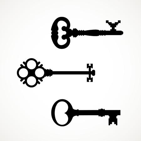 Zwart-wit set silhouetten van sleutels verschillende vormen. Stock Illustratie