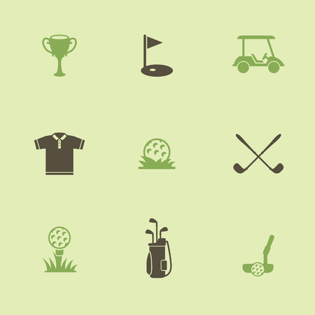 golf stick: Golf. Vector  Set golf icons. Icon of a golf ball and other attributes of the game.