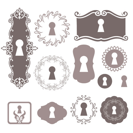 opener: Set of silhouettes keyholes. Beautiful silhouettes keyholes in a decorative frame.