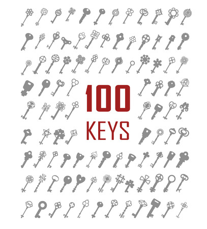 opener: Black & white set silhouettes of keys different shapes. One hundred silhouettes. Illustration