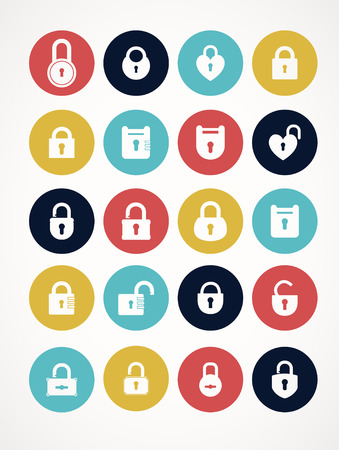 privileges: Multicolor set of lock &  keys icons. Simple silhouettes of lock for door.