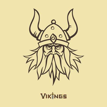 vikingo: Imagen de la plantilla del guerrero. Jefe emblema de diseño de la mascota. Armas medievales vector. Iconos del juego. Estilo de dibujos animados.
