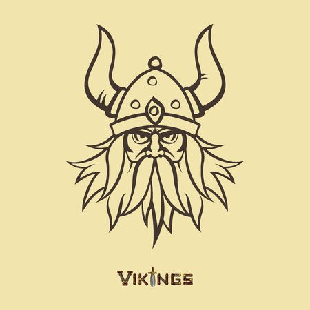 viking helmet: Stencil image of warrior. Head emblem for mascot design. Vector illustration Medieval weapons. Game icons. Cartoon style.