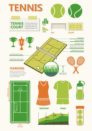 tenis: Información de gráficos creados con elementos y símbolos planas sencillas. Los iconos para su diseño. Objetos Deportes y pista de tenis.