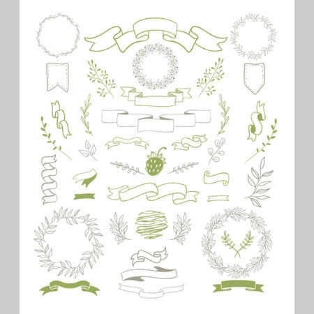 sketched arrows: Ribbon set. Flowers, branches, border, arrows, ribbons ,decor elements. Easy to make design templates . For holidays design. Grey & green.