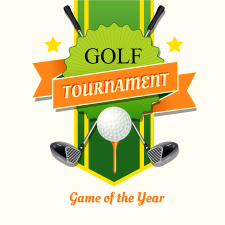 course: Poster golf tournament with a field for the text. Illustration with sticks and Ball Golf Course