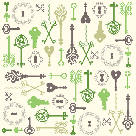 opener: Background with a Vintage silhouette keys. Beautiful silhouette keyholes, decorated frame & items.