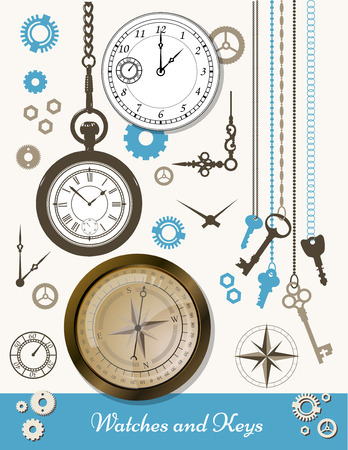 watchmaker: Illustration in the old style. Workshop watchmaker. Set of small gears and arrows.