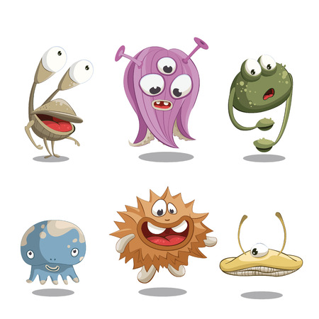 computer viruses: Simple cute invented characters in cartoon style.