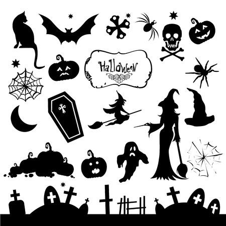 silueta de gato: Ilustración vectorial blanco y negro. Plantillas Pak para decorar para la fiesta de Halloween.