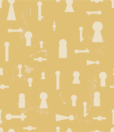 key hole: Vintage seamless background with silhouettes of keyhole. Various shapes of wells. Illustration
