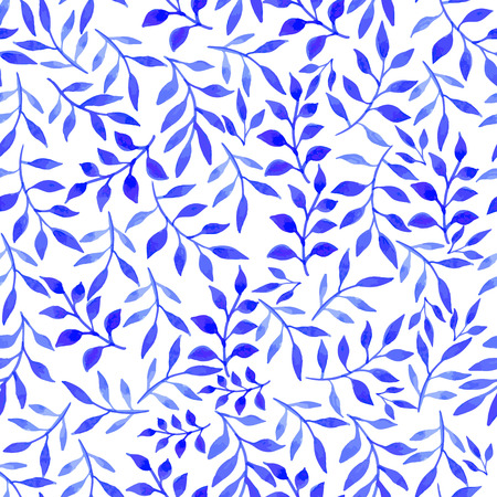 Seamless floral background. Watercolor blue pattern with flowers and plants. Handmade painting on a white background.