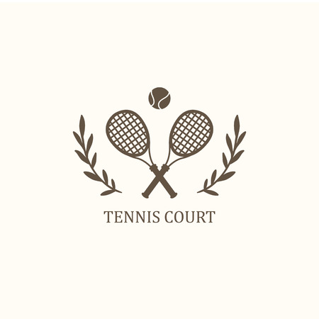 net bar:  tennis. Two crossed rackets & ball on white background.