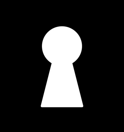key: Silhouette of classic keyhole. Simple stencil. Symbol for design. Illustration