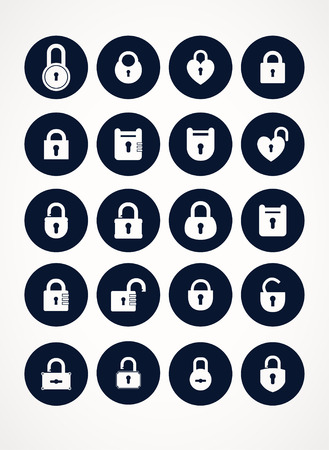 lock symbol: Set of lock &  keys icons. Simple silhouettes of lock for door.  Black on white background.