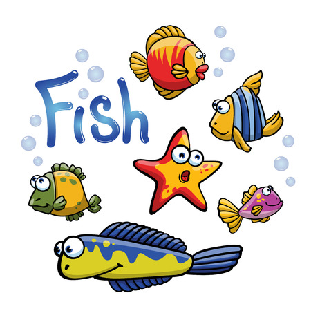 Set of funny cartoon fish on white background. Colorful characters. Set of cartoon sea fishes with different emotions. Illustration