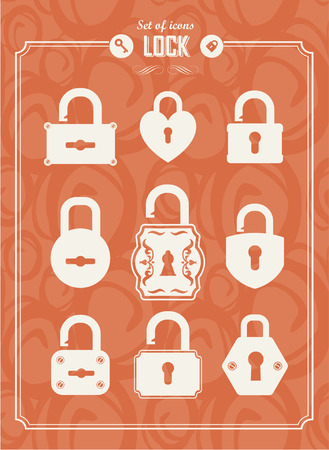 privileges: Set of lock &  keys icons. Simple silhouettes of lock for door. Illustration