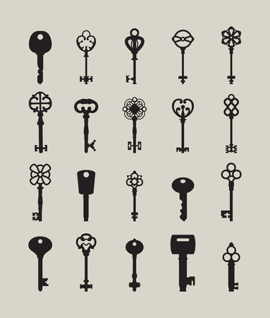 antiquarian: Icon set of keys. Different silhouettes shapes keys. Illustration