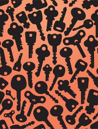 De fondo sin fisuras de llaves iconos. Siluetas de llaves y cerradura formas diferentes. Fondo anaranjado. Foto de archivo - 42504820