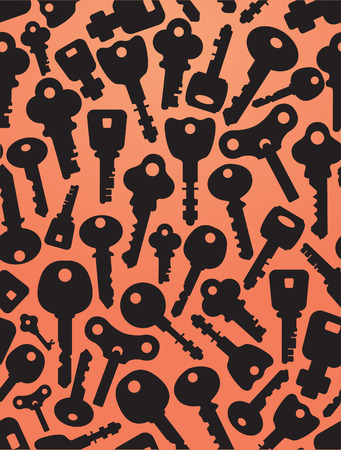 Seamless background of keys icons. Silhouettes of keys & lock different shapes. Orange background.