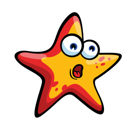 Frightened and funny red & yellow starfish on white background. Concerned emotion.