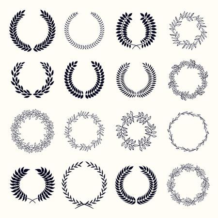 distinction: Set of laurel wreaths. Heraldic round element of wheat or laurel. Award a mark of distinction. Illustration