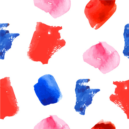 Bright blue, rose & red watercolor stains. Vector abstract background with paint strokes and splashes.