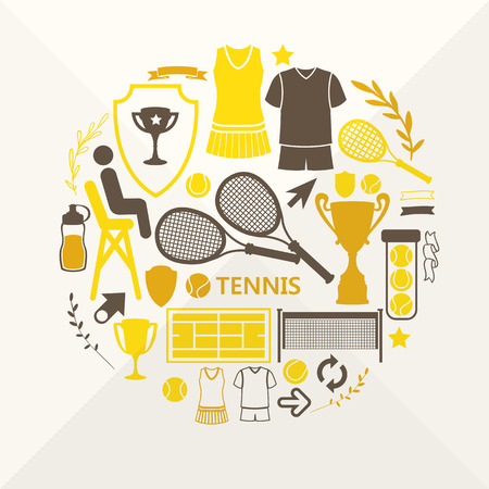 Flat objects arranged in a circle. Icons for your design. Set of tennis icons.