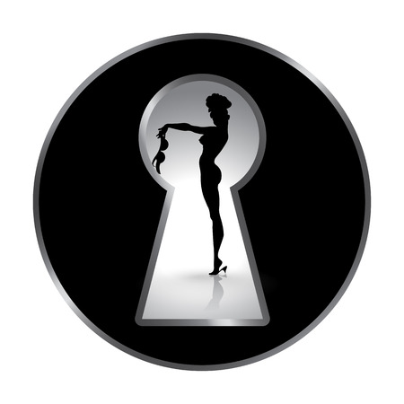Silhouette of a woman seen through a keyhole. Erotica or striptease. Temptation of love. Composition in disk.