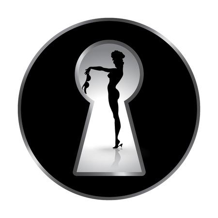 Silhouette d'une femme vue à travers un trou de serrure. Erotica ou strip-tease. Tentation de l'amour. Composition à disque. Vecteurs