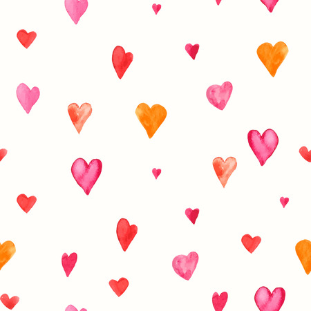 valentine s day background: Seamless backgrounds of vector pattern. Valentine s day background with hearts. Watercolor illustrations. Illustration