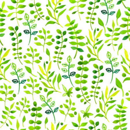 Jednolite kwiatowy wzór. Akwarela zielony wzór z liści i plants.Handmade malowania na białym tle.