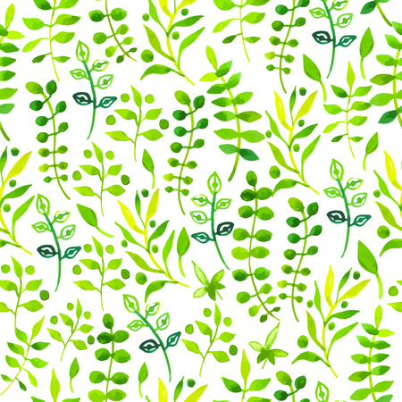 Seamless floral background. Watercolor green pattern with leaves and plants.Handmade painting on a white background. Illustration
