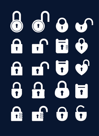 lock: Set of lock &  keys icons. Simple silhouettes of lock for door. Illustration