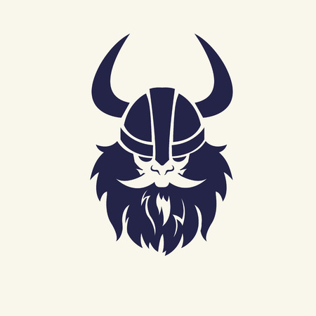 Stencil image of warrior. Head emblem for mascot design. Vector illustration Medieval weapons. Game icons. Cartoon style.