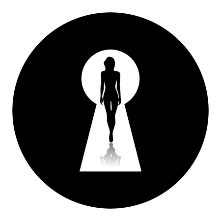 nudity: Silhouette of a woman seen through a keyhole. Erotica or striptease. Temptation of love. Composition in disk.