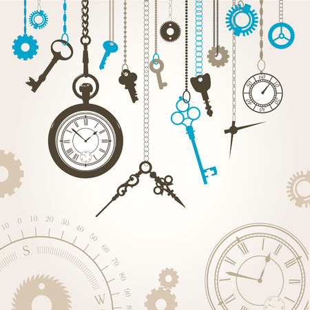 ephemera: Illustration in the old style. Workshop watchmaker. Set of small gears and arrows.