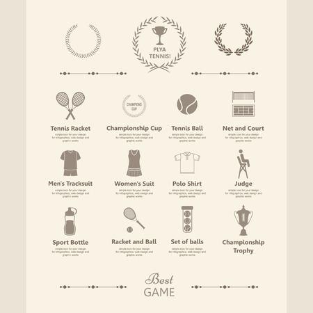 TENIS: Tenis. Elementos y símbolos simples. Iconos para su diseño. Información de gráficos establecidos en el estilo vintage.