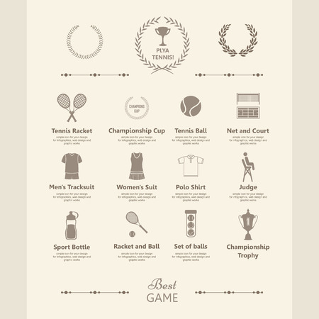 terrain: Tennis.  Simple elements and symbols. Icons for your design.  Info graphics set in vintage style.