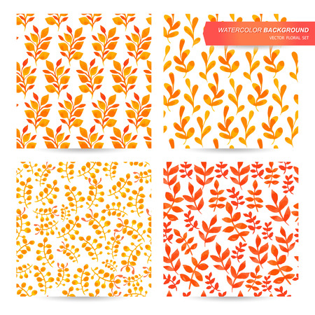 yellow orange: Painting set of seamless texture. Autumn watercolor background of floral motifs. Warm colors, yel-low, orange, red. Orange flowers pattern.