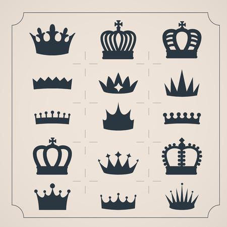 corona real: Conjunto de iconos de veinte coronas. Formas simples coronas. Siluetas del vector.