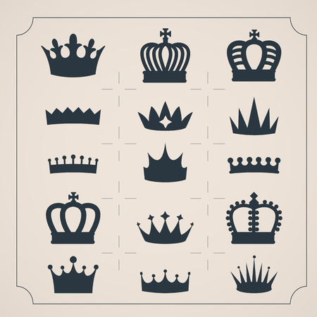 crown logo: Set of icons twenty crowns. Simple shapes crowns. Vector silhouettes. Illustration
