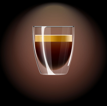 Beautiful transparent cup of coffee on dark brown background.