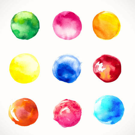 Background. Pink, yellow, violet & blue watercolor circles. Design. Watercolor vector background for retro design. 矢量图像