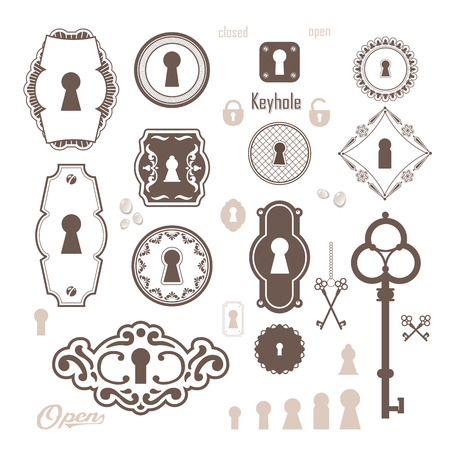 safe lock: Set of icons keyholes & keys. Beautiful silhouettes keyholes in a decorative frame.