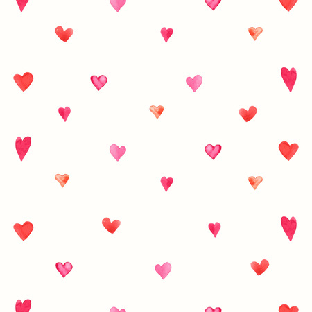 s day: Seamless backgrounds of vector pattern. Valentine s day background with hearts. Watercolor illustrations. Illustration