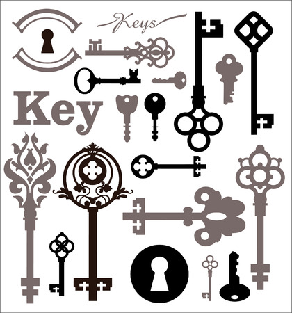 puerta abierta: Conjunto de iconos de cerraduras y llaves. Siluetas hermosas cerraduras en un marco decorativo.
