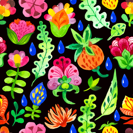 fabulous: Seamless floral & flower background. Watercolor elements for decoration and create your design. Watercolor doodling. Fabulous pattern on black background. Illustration